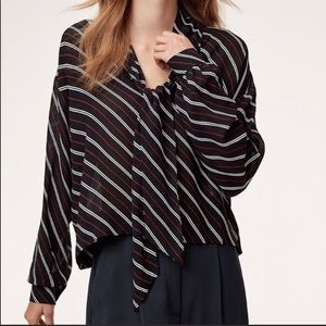 Aritzia Wilfred Long Sleeve Stripe Pearl Blouse